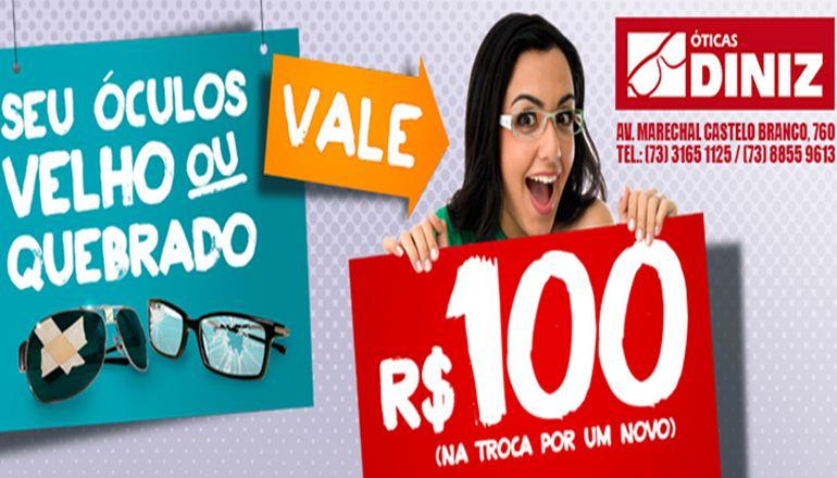 fa3fb4924 Óticas Diniz; seus óculos velhos ou quebrados valem R$ 100,00