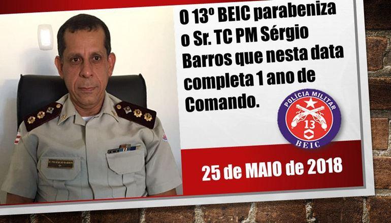 13º BEIC parabeniza o Sr. TC PM Sérgio Barros Bispo por 1 ano no comando