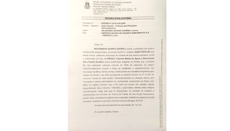 Justiça determina a suspensão da cobrança da tarifa de esgoto da Embasa em Teixeira de Freitas