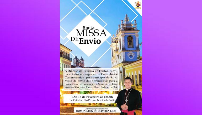 Bispo Dom Jailton celebrará nesta sexta-feira (16) a Missa de Envio dos Seminaristas para Salvador