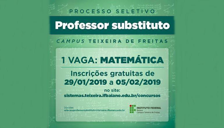 IF Baiano de Teixeira de Freitas lança processo seletivo para professor de matemática; inscrições até 05/02