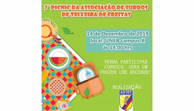 Associação de Surdos de Teixeira de Freitas realizará o seu 2º Picnic neste sábado