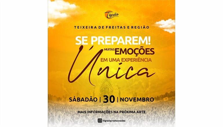 Tigrão Produções promete um super evento no dia 30 de novembro; aguardem, fortes emoções