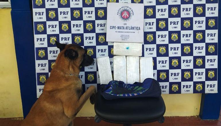 CAEMA e PRF apreendem quase 6 Kg de cocaína dentro de ônibus em Teixeira de Freitas