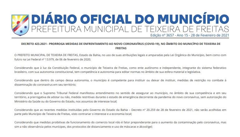 Comércio teixeirense funcionará normalmente de acordo novo decreto da prefeitura