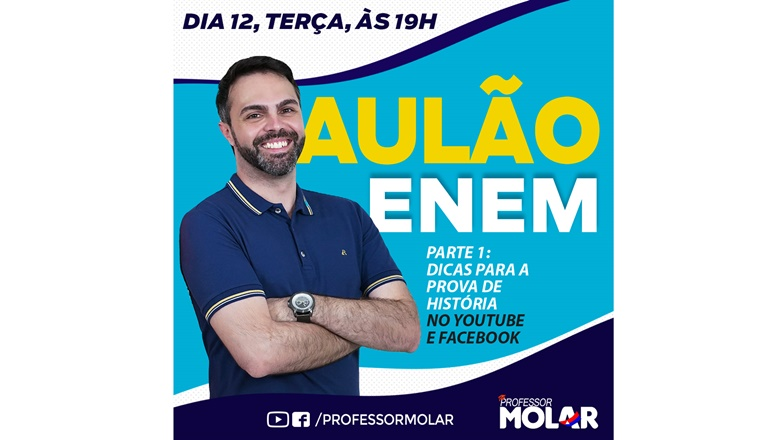 Professor Molar dará aulas gratuitas ao vivo na reta final do ENEM