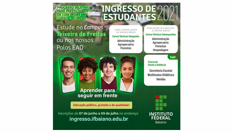Última semana de inscrições para cursos técnicos; disponíveis 1080 vagas para Teixeira e região no IFBaiano