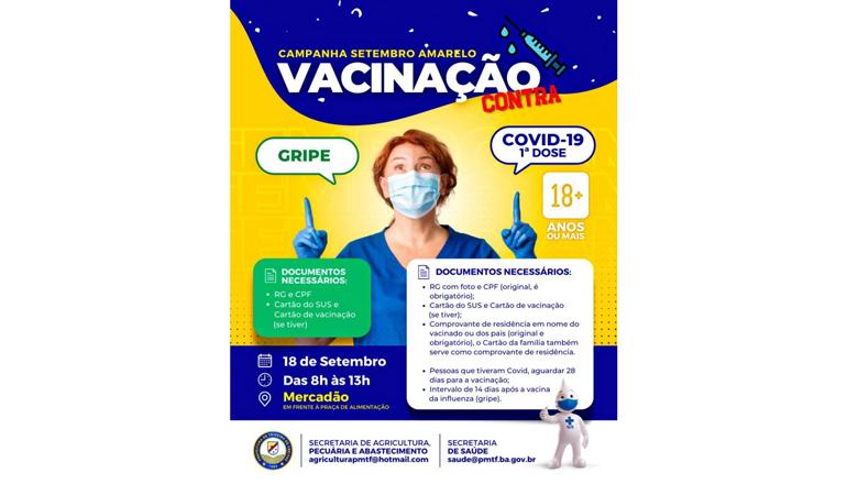 Ação de vacinação contra Covid-19 e contra Gripe acontece no Mercadão neste sábado (18)